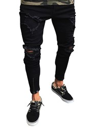 Ericdress Mens Clothing Black Ripped Skinny Jeans фото