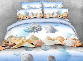 3D Seashells and Bubbles on the Sea Bottom Printed Cotton 4-Piece Bedding Sets/Duvet