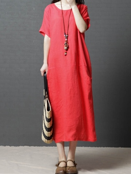 Ericdress Single Color Pullover Straight Casual Dress