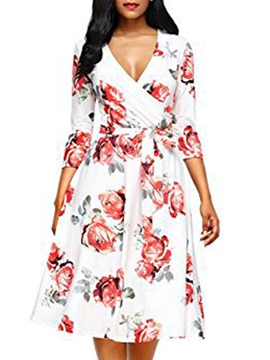Ericdress Floral V-Neck Print Pullover Women's A-Line Dress