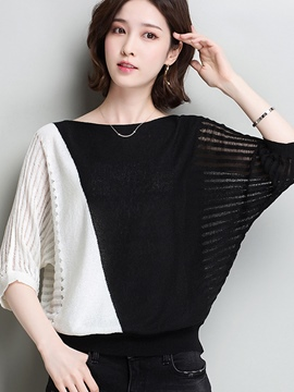 Ericdress Color Block Thin Batwing Sleeve Knitwear