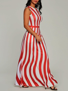 Ericdress Pullover Pocket Stripe Women's Maxi Dress