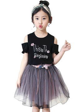 Ericdress Letter Floral Print T Shirt & Skirt Girl's Summer Outfits