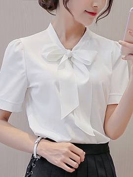 Ericdress Plain Bowknot Slim Short Sleeve Blouse