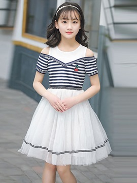 Ericdress Mesh Stripe Color Block Girl's Short Sleeve Summer Dress