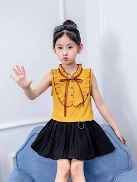 Ericdress Pleated Button Bowknot Shirt & Skirt Girl's Summer Outfits