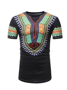 Ericdress Dashiki African Print Mens Loose Short Sleeve T Shirt