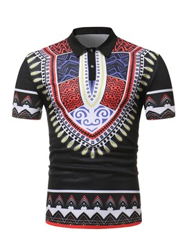 Ericdress African Fashion Dashiki Mens Short Sleeve Polo T Shirt