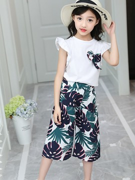 Ericdress Ruffles Coconut Print T Shirt & Pants Girl's Outfits