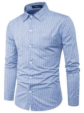 Ericdress Lapel Stripe Long Sleeve Single-Breasted Men's Casual Shirt
