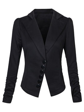 Ericdress Single-Breasted Notched Lapel Slim Plain Blazer
