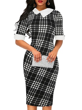 Ericdress Peter Pan Collar Plaid Bodycon Dress