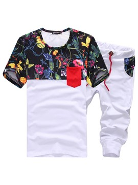 Ericdress Floral Print Short Sleeve T Shirt & Shorts Mens Sports Suits