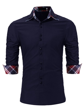 Ericdress Plain Plaid Slim Fit Single Breasted Mens Shirts