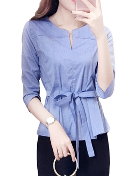Ericdress Women's Lace-Up Slim Short Sleeve Blouse