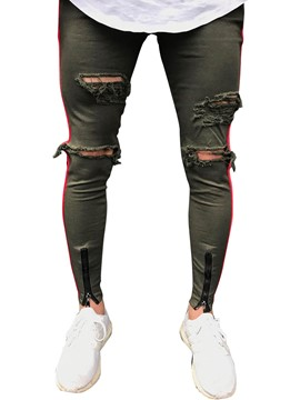 Ericdress Stripe Worn Ripped Zipper Mens Skinny Pencil Pants