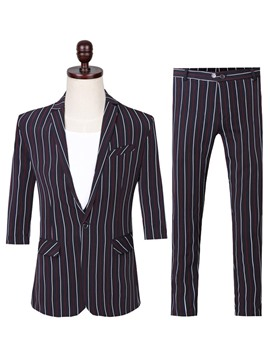 Ericdress Vertical Stripe One Button Mens Summer Casual Suit