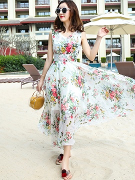 Ericdress V-Neck High-WaistFloral Maxi Dress