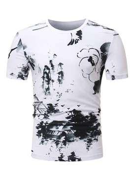 Ericdress Inkwash Painting Printed Mens Slim T Shirt