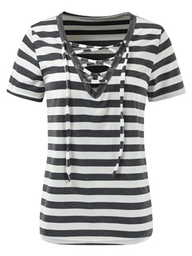 Ericdress V-Neck Lace-Up Stripe Short Sleeve Tee