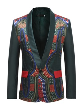 Ericdress Dashiki African Print One Button Mens Casual Blazer