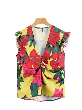 Ericdress Floral Print Falbala Single Vest