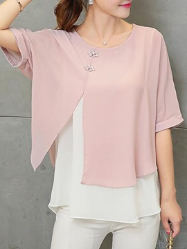 Ericdress Double-Layer Patchwork Scoop Batwing Sleeve Blouse