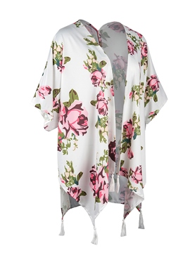 Ericdress Floral Thin Print Short Sleeve Cape