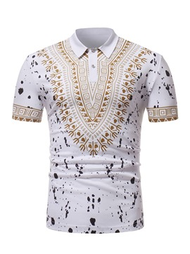 ericdress print dashiki lose Herren Kurzarm-Polo-T-Shirt