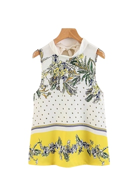 Ericdress Pullover Floral Print Sleeveless Blouse