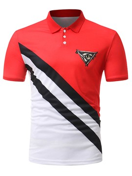ericdress stripe bloque de color patchwork mens polo camiseta