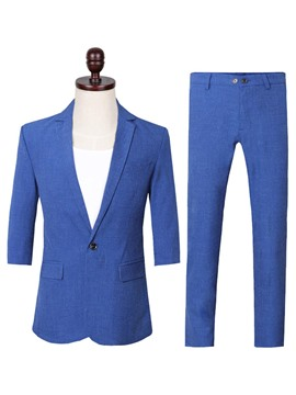 Ericdress Plain One Button Blazer & Pants Mens Suit