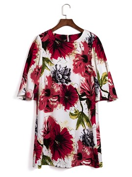 Ericdress Red Floral Patchwork Half Sleeves Casual Dress