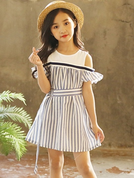 Ericdress Vertical Stripe A-Line Scoop Girl's Dress With Belt