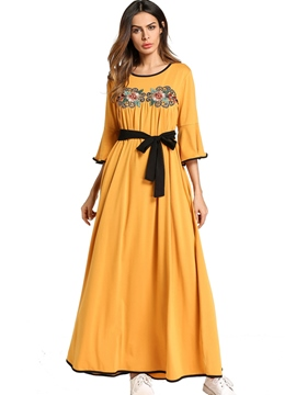 Ericdress Yellow Flare Embroidery Lace-up Sleeve Maxi Dress