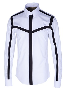 Ericdress Lapel Long Sleeve Color Block Men's Shirt