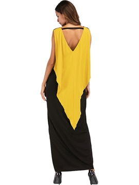 Ericdress Yellow-Black Pullover Patchwork Sleeveless Maxi Dress