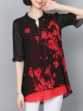 Ericdress Double-Layer Floral Print V-Neck Short Sleeve Blouse