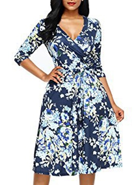 Ericdress Floral V-Neck Print Women's A-Line Dress