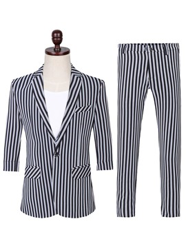 Ericdress Vertical Stripe One Button Blazer & Pants Mens Casual Suit
