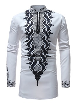 Ericdress Dashiki Print Color Block Stand Collar Mens Loose Shirt
