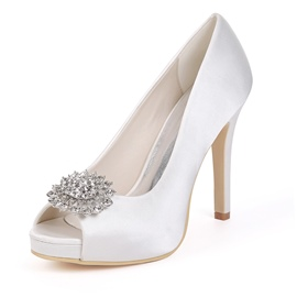 ericdress stiletto heel slip-on zapatos de boda peep toe