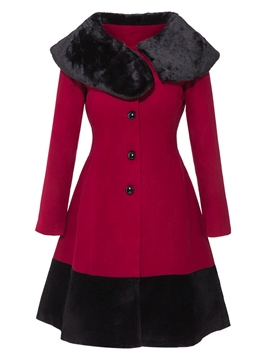 Ericdress Slim Color Block asymmetrische Lady Coat