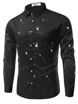 Ericdress Print Slim Fit Lapel Single Breasted Mens Shirts