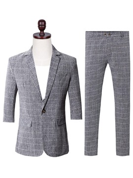 Ericdress Plaid One Button Blazer & Pants Mens Casual Suit