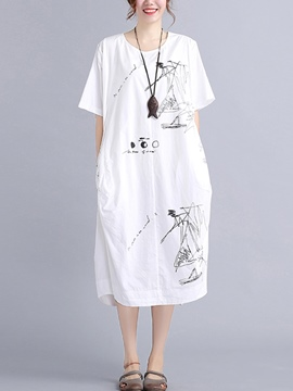 Ericdress Art Print Half Sleeves Casual Dress