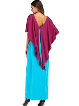 Ericdress Ruffle Batwing Sleeve Backless Maxi Dress