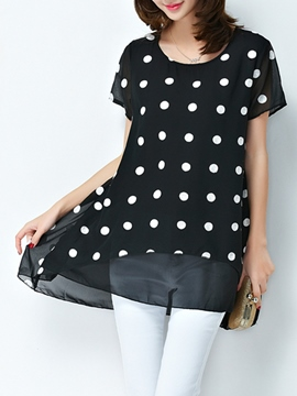 Ericdress Loose Polka Dots Scoop Patchwork Blouse
