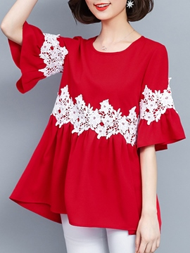 Ericdress Lace Patchwork Scoop Flare Sleeve Blouse