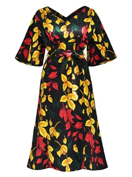 Ericdress A-Line Knee-Length Print Women's Dress